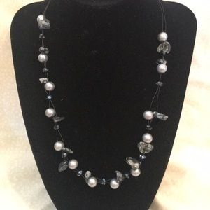 Grey Pearl and Black Stone Necklace